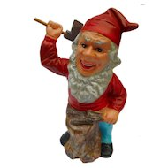 Vintage East German stoneware Dwarf Gnome with wooden Axe