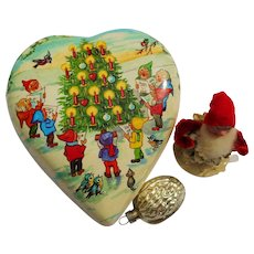 Vintage German Paper Heart CANDY CONTAINER Dwarf and Christmas Glass Ball