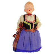 Vintage German Costume Celluloid Egg Warmer Doll 5""