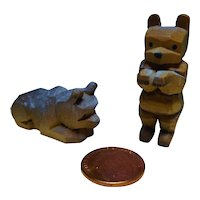 Vintage German Dollhouse miniature carved wooden 2 Bear