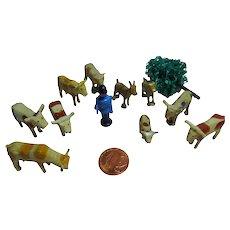 Antique German Erzgebirge lot 10 wood Putz Toy figurines