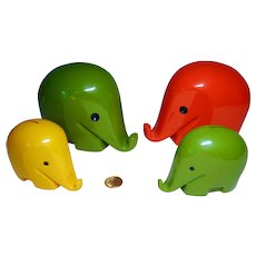 Vintage Dresdner Bank lot 4 Elephant Luici Colani Money Bank no key