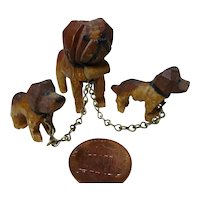 Old German Dollhouse miniature carved wood Dog with whelps