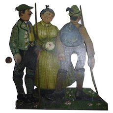 Old German folk art tramp art fretwork handpainted picture with hunters
