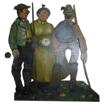 Antique German folk art tramp art fretwork handpainted picture with hunters