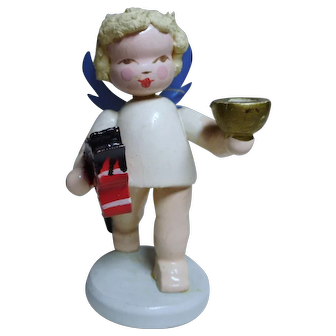 Old German Steinbach Angel with candle holder und horse