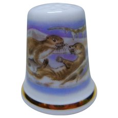 "Wedgwood  thimble  collectible thimble  sewing Item ""playing SEALS"""