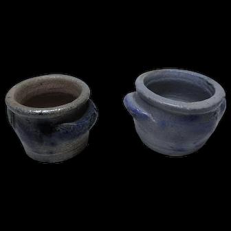 Old German miniature Dollhouse 2 Westerwald pottery salt glazed pot