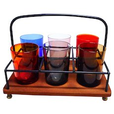 Mid Century german colored glass set with teak holder shot hard liquor