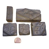 rare old Printers Block wood Stamps several formed set of 5