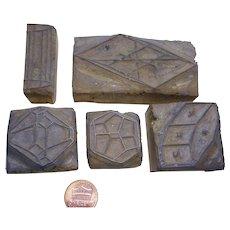 Antique Printers Block wood Stamps several formed set of 5