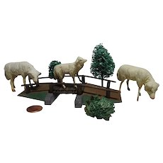 Vintage German Landscape wood stick sheep on wood bridge