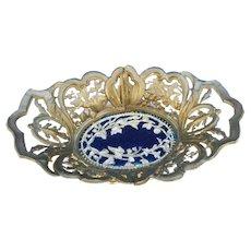 Antique German Dollhouse miniature pewter filigree Bowl