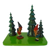 Vintage German Erzgebirge Gnomes and Tree Landscape