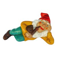 Vintage German Stoneware Dwarf Lying with Pipe