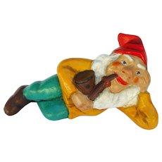 Vintage German Stoneware Dwarf Lying with Pipe