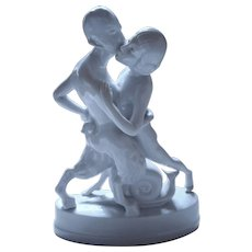 Art Deco FRAUREUTH porcelain figure faun with nymph nature - protection spirits