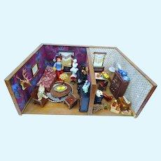 Vintage miniature Doll house kitchen living room german wood room box