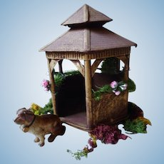 Vintage German doll´s size  Garden Gazebo with dog and Decoration