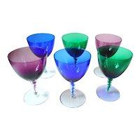 Vintage German set of 6 colored twisted crystal wine glasses