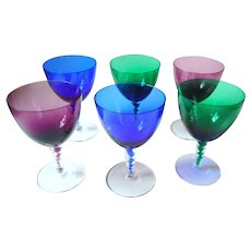Vintage German set of 6 colored twisted crystal wine glasses