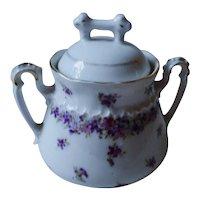 Antique lidded Sugar Bowl KPM Berlin violets flower motive