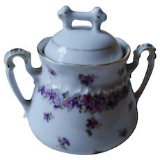 Antique lidded Sugar Bowl KPM Berlin violets flower motive