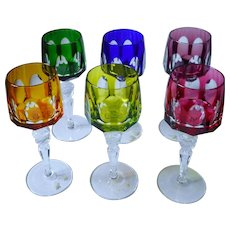 Germany Crystal Nachtmann ANTIKA set 6 colored wine glasses