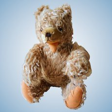 Old German Zotty Teddy Bear with queeck on tummy 16 inch