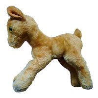 Old German Steiff  XL Child Goat  wood wool