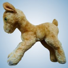 Old German Steiff  XL Child Goat  wood wool