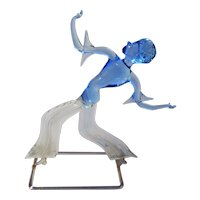 Vintage Lauscha Bimini blue Glass Figure