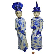 Vintage pair of ceramic statues Chinese Emperor & Empress seated blue & white