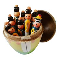 Vintage Erzgebirge German wood candy box with bowling toy set