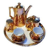 Old German Dollhouse miniature golden colored bisque Tea Set Dolls Size