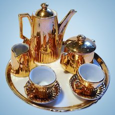 Antique German Dollhouse miniature golden colored bisque Tea Set Dolls Size
