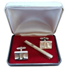 60´s fine  835 silver cufflinks & tie holders MIB