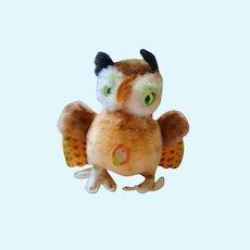 German 50´s Steiff Owl  medium Wittie with small silver button