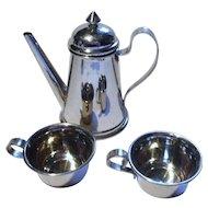 Art Deco Antique Dollhouse Miniature German Chrom Tea Pot 2 Cups