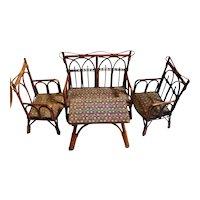 Old german doll  size garden furniture or dining room set