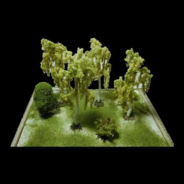Artisan miniature dollhouse or fairy garden lot birches tree