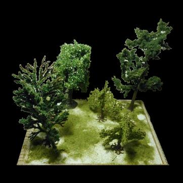 Artisan miniature dollhouse or fairy garden lot 5 trees