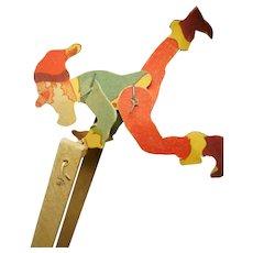Vintage  German jumping jack wood and printed paper SANTA