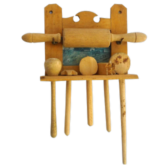 Antique German Dollhouse miniature Kitchen Cooking Set  Wood Utensils Spoons Rolling Pin  Rack