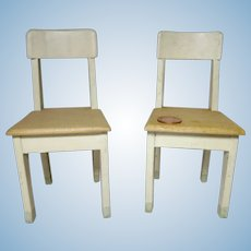 """vintage German miniature dollhouse wooden 2 kitchen chairs 6""""inch tall"""