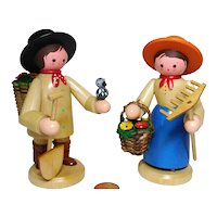 wood Erzgebirge German biggger pair of gardener design Romy Thier