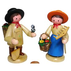 wood Erzgebirge German biggger pair of gardener design Romy Thier