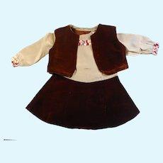 """Vintage German composition Doll velvet and silk dress vest 18-20"""""""