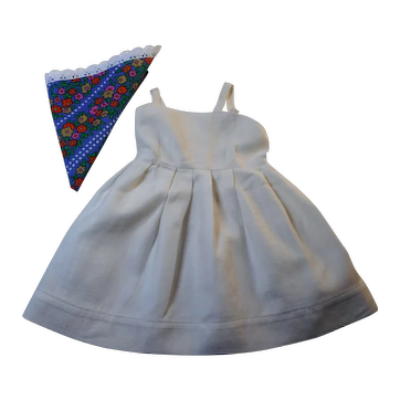 """Vintage German white linen Dress with costume cloth for hard plastic doll´s 16""""inch"""