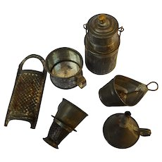 Antique German miniature Dollhouse Tin Toy lot 6 very rare Utersils Can Cone Strainers Colanders Pot Funnel